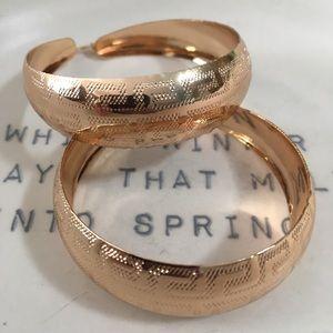 Gold Hoop Round Bohemian Engraved Earrings